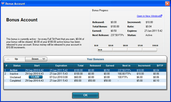 Full Tilt Poker Bonus Account Window
