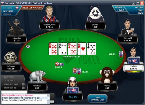 Full Tilt Poker Table screenshot