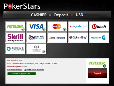 pokerstars deposit options